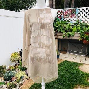 Halston Heritage Sleeveless Dress With Sheer Drape